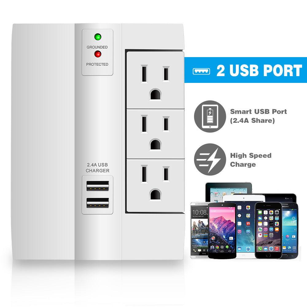 Kasonic Wall Tap Surge Protector, Top Power Strip 6 Power Outlets Plus 2 USB Ports Portable Wall-Mount Socket - kasonicdeal