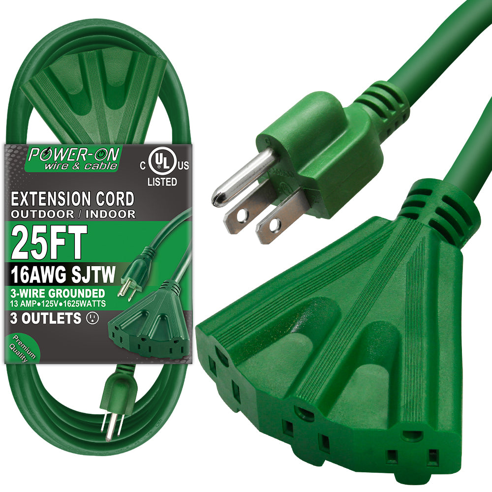 Black 16AWG Indoor//Outdoor Use MAXIMM 5 Feet 3 Outlet Extension Cord//Wire 3 Outlet Electrical Cord UL Listed 2 Pack