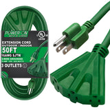 Kasonic 50 Ft Extension Cord with 3 Outlets, UL Listed; 16/3 SJTW; 3-Wire Grounded; 13A 125V 1625W for Indoor/Outdoor Use - kasonicdeal