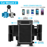 Twin Head Universal Fexible Suction Cup Car Mount Holder Cradle for Smart Phone - kasonicdeal
