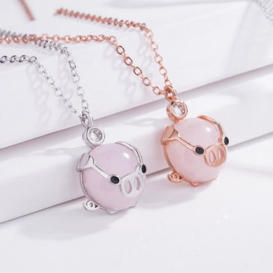 Necklaces for Women Fashion Cute Rose Gold Rose Crystal Pendant Lucky Pig Necklace Girl Gift