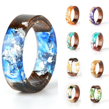 Load image into Gallery viewer, Handmade Silver Gold Foil Paper Inside Resin Ring for Women Wood Dry Flower Ring