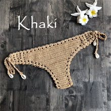 Load image into Gallery viewer, Women Unique Sexy Handmade Crochet Swimwear Bikini Bottom Hollow-out Low Waist Bathing Suit Triangle Briefs Swim knicker