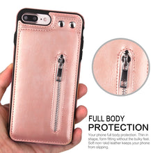 Load image into Gallery viewer, Cases For iPhone X 8 7 6S 6 Plus 5S SE Fashion zipper Leather Phone Case Card Holder Wallet Cover