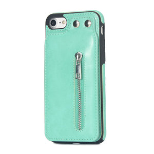 Cases For iPhone X 8 7 6S 6 Plus 5S SE Fashion zipper Leather Phone Case Card Holder Wallet Cover