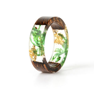 Handmade Silver Gold Foil Paper Inside Resin Ring for Women Wood Dry Flower Ring