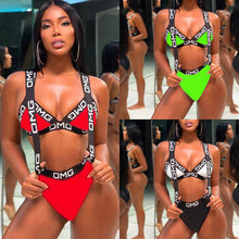 Load image into Gallery viewer, Plus Size Letter Printed Sexy Party 2 Piece Set Summer Spaghetti Strap V Neck Crop Top+Triangle Shorts Bodysuit Beachwear LD8110