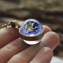 Load image into Gallery viewer, Personality Fashion Double Side Glass Ball Necklace Earth Planet Pattern Jewelry Galaxy Astronomy Pendant Necklace