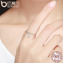 Load image into Gallery viewer, BAMOER 925 Sterling Silver Lovely Smile Face Dangle Finger Rings for Women SCR147