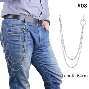 1PC  Long Trousers Hipster Key Chains Punk Street Big Ring Key Chain Metal Wallet Belt Chain Pant Keychain Unisex HipHop Jewelry-in Key Chains