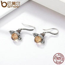 Load image into Gallery viewer, BAMOER 925 Sterling Silver Lovely Orange Bee Animal Drop Earrings SCE149