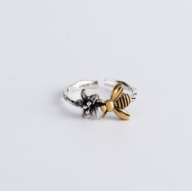 S925 Sterling Silver Ring Bee Opening Adjustable Simple Jewelry