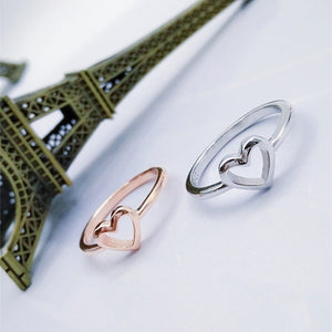 Rose Gold Color Heart Shaped Wedding Ring For Woman