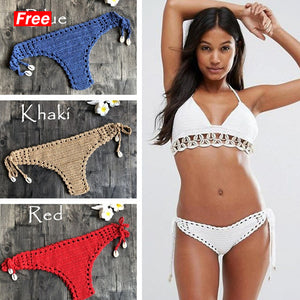 Women Unique Sexy Handmade Crochet Swimwear Bikini Bottom Hollow-out Low Waist Bathing Suit Triangle Briefs Swim knicker