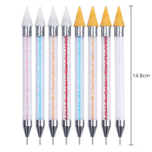 Load image into Gallery viewer, Dual-ended Nail Dotting Pen Crystal Beads Handle Rhinestone Studs Picker Wax Pencil Manicure Nail Art Tool