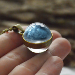 Personality Fashion Double Side Glass Ball Necklace Earth Planet Pattern Jewelry Galaxy Astronomy Pendant Necklace