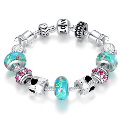 Silver Charm Bracelet Bangle for Women with Murano Beads Fashion Love DIY Jewelry