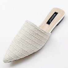 Load image into Gallery viewer, Slippers Fashion Pointed Toe Weave Mules Shoes Flat Slides Summer Beach Flip Flop Outside Slip On Shoes
