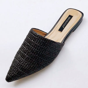 Slippers Fashion Pointed Toe Weave Mules Shoes Flat Slides Summer Beach Flip Flop Outside Slip On Shoes