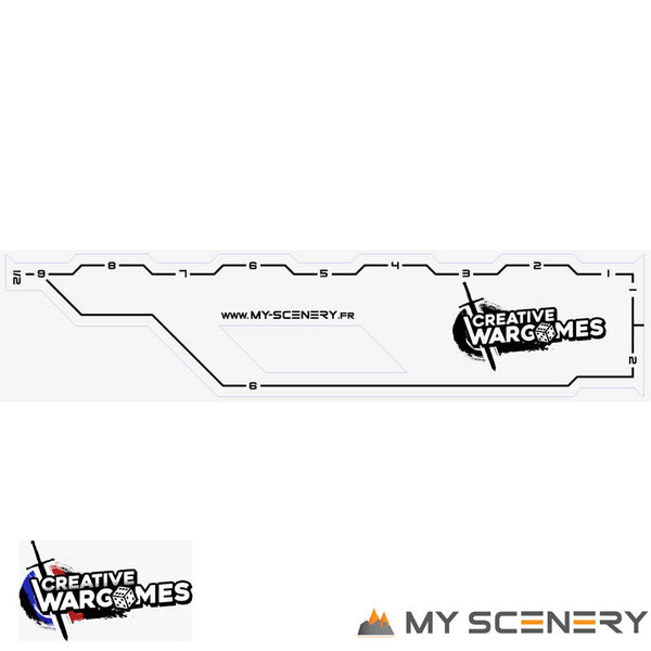 "MY SCENERY SKETCH Regles rulers Regle ruler gauge gauges 9"" 9 pouce pouces inch pas 123456 W40K warhammer 40 000 NEW40K V 9th edition My Scenery Creative wargame"
