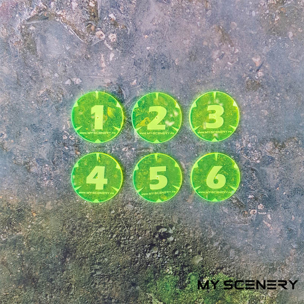 Fluorescent Jaune Fluo Yellow Objectifs objectif Objective objectives  Markers 40mm 40 mm 123456 W40K warhammer 40 000 NEW40K V 9th edition