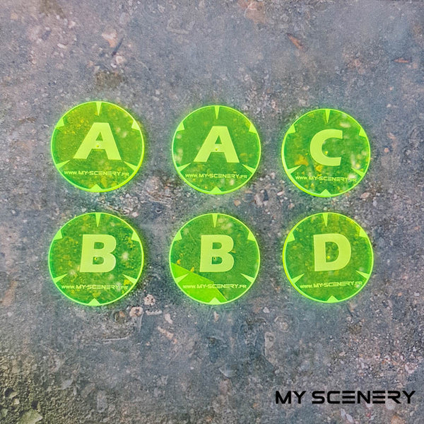 Jaune fluo Letter lettre ABC AABBCD Objectifs objectif Objective objectives  Markers 40mm 40 mm 123456 W40K warhammer 40 000 NEW40K V 9th edition My Scenery