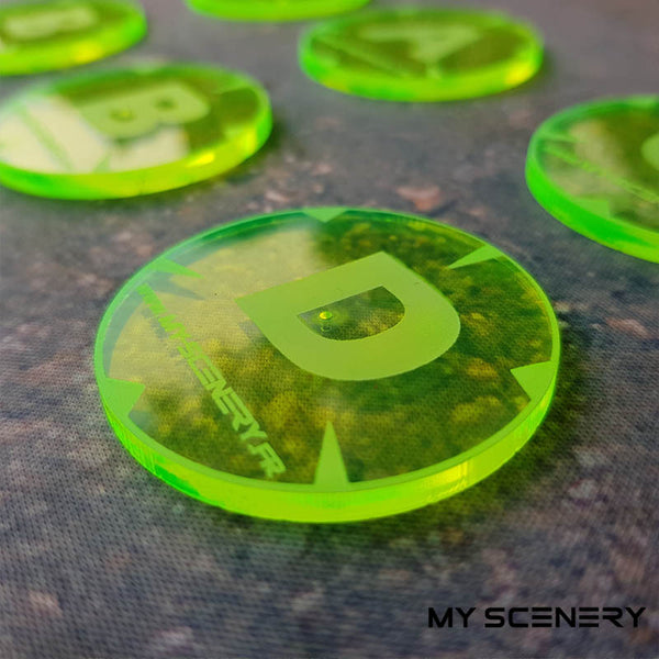 Jaune Yellow Transparent Letter lettre ABC AABBCD Objectifs objectif Objective objectives  Markers 40mm 40 mm 123456 W40K warhammer 40 000 NEW40K V 9th edition My Scenery