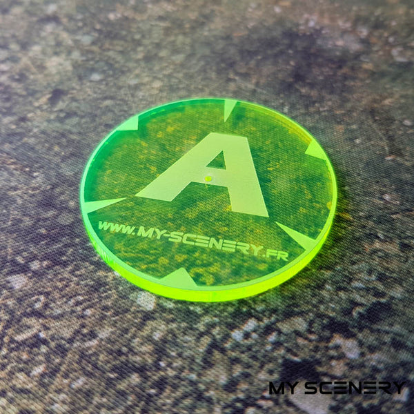 Jaune Transparent Letter lettre ABC AABBCD Objectifs objectif Objective objectives  Markers 40mm 40 mm 123456 W40K warhammer 40 000 NEW40K V 9th edition My Scenery