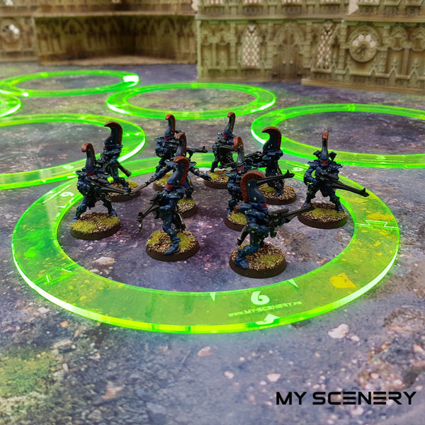 "Aeldari Adapteur Adaptateur Jaune Fluo Yellow 6"" pouce 6 40mm Donut Objectifs objectif Objective objectives  Markers 40mm 40 mm 123456 W40K warhammer 40 000 NEW40K V 9th edition My Scenery"
