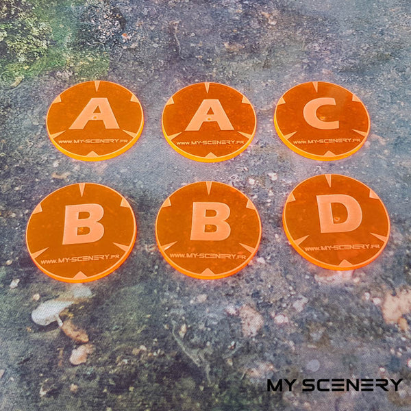 orange transparent fluorescent Letter lettre ABC AABBCD Objectifs objectif Objective objectives  Markers 40mm 40 mm 123456 W40K warhammer 40 000 NEW40K V 9th edition My Scenery