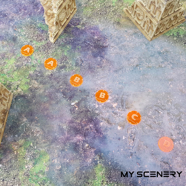 Mission scenario orange transparent fluorescent  strike forceLetter lettre ABC AABBCD Objectifs objectif Objective objectives  Markers 40mm 40 mm 123456 W40K warhammer 40 000 NEW40K V 9th edition My Scenery
