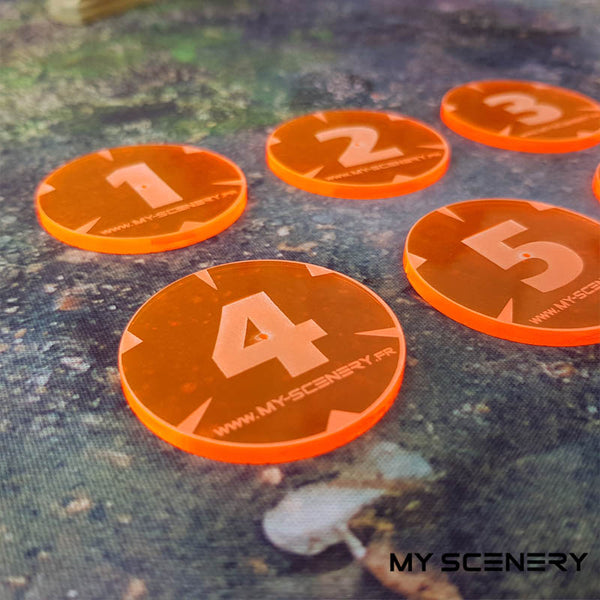 Orange Transparent Fluo Fluorescent Objectifs objectif Objective objectives  Markers 40mm 40 mm 123456 W40K warhammer 40 000 NEW40K V 9th edition