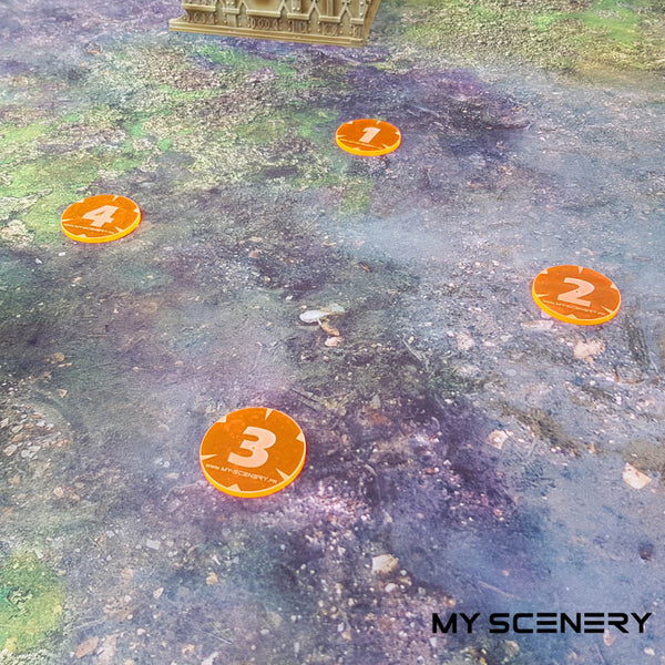 number orange transparent fluo Objectifs objectif Objective objectives  Markers 40mm 40 mm 123456 W40K warhammer 40 000 NEW40K V 9th edition