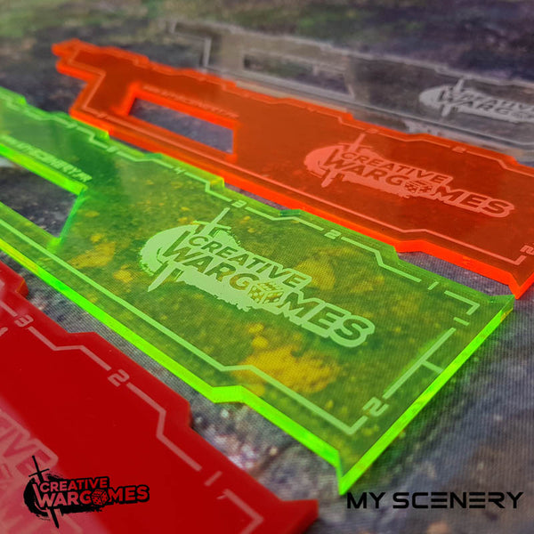 "Multi color colors Regles rulers Regle ruler gauge gauges 9"" 9 pouce pouces inch pas  123456 W40K warhammer 40 000 NEW40K V 9th edition My Scenery Creative wargame"