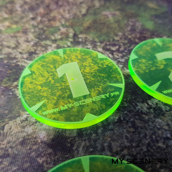 Jaune Fluo Transparent Yellow Fluorescent Objectifs objectif Objective objectives  Markers 40mm 40 mm 123456 W40K warhammer 40 000 NEW40K V 9th edition