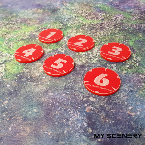 Numéro number opaque red rouge Objectifs objectif Objective objectives  Markers 40mm 40 mm 123456 W40K warhammer 40 000 NEW40K V 9th edition