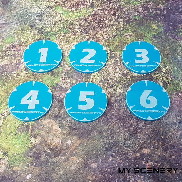 Opaque Bleu numero Objectifs objectif Objective objectives  Markers 40mm 40 mm 123456 W40K warhammer 40 000 NEW40K V 9th edition