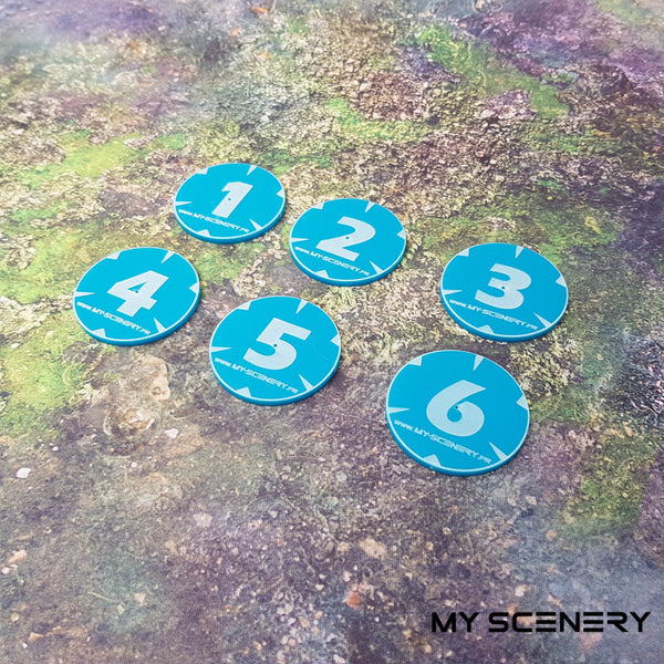 Bleu Blue opaque numbers Objectifs objectif Objective objectives  Markers 40mm 40 mm 123456 W40K warhammer 40 000 NEW40K V 9th edition