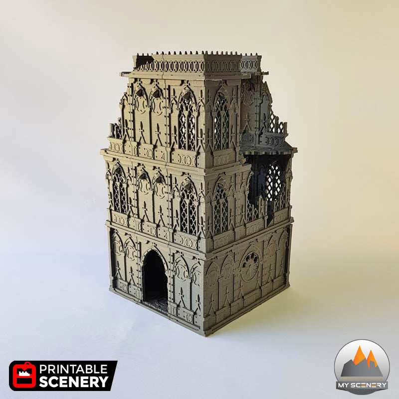 Ruined Tower gothic printable scenery wargames wargame warhammer 40k batiment building gothic gothique scenery décor decor print 3D impression 3D