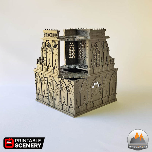 Tower gothic printable scenery wargames wargame warhammer 40k batiment building gothic gothique scenery décor decor print 3D impression 3D