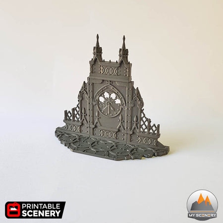 Ruined clock gothic printable scenery wargames wargame warhammer 40k batiment building horloge gothic gothique scenery décor decor print 3D impression 3D