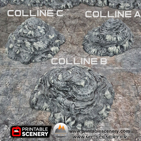 Collines Modulables Colline modulable decors 3D modular hills hill Warhammer Age Of Sigmar Table  Warhammer 40k décor 3D