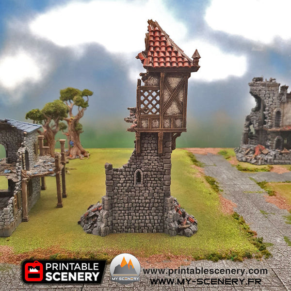Tour en Ruine Ruines Winterdale Ruined Winterdale Watchtower Ruines Ruine Ruin Warhammer Age Of Sigmar Decor Decors Table Warhammer 40K