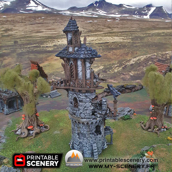 Tour du Magicien en Ruines Ruine Ruined Wizard Tower Warhammer Age Of Sigmar Décor 3D Decors 3D Table Warhammer 40 000
