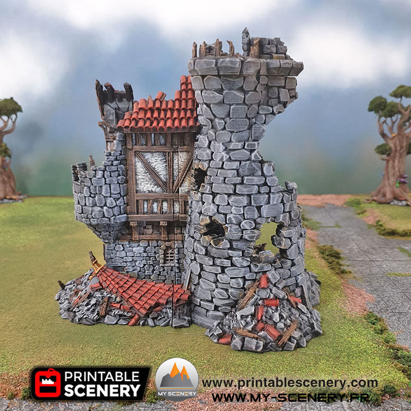 Tour du Sorcier en Ruine Ruines Ruined Sorcerer Tower Warhammer Age Of Sigmar Decor 3D Decors 3D Table Warhammer 40 000