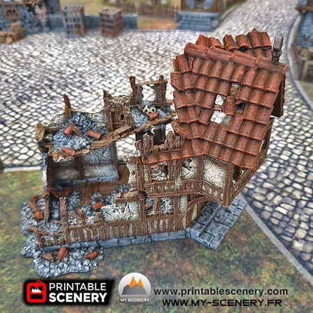 cottage de la guerre en ruines Ruine Ruined War Cottage Warhammer Age Of Sigmar Décor 3D Decors 3D Table Warhammer 40 000 historique fantastique