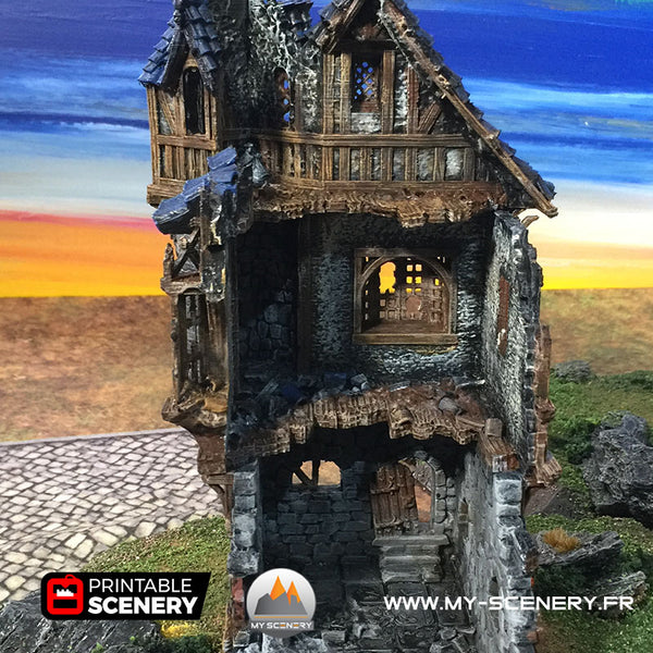 Manoir du Gouverneur en Ruine Ruines Décor 3D Ruined Governors Mansion Warhammer Age Of Sigmar Decors 3D Table Warhammer 40 000