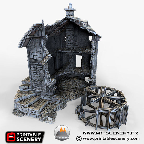 Le Moulin à eau en ruine Décor 3D Ruines Ruined Water Mill Warhammer Age Of Sigmar Décor 3D Decors 3D Table Warhammer 40 000