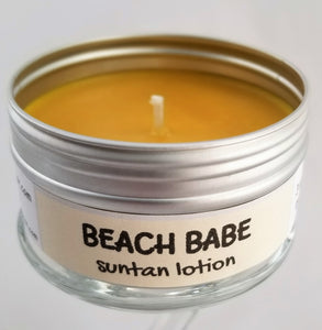 Beach Babe (suntan lotion) Intentionally Inappropriate travel candles by Soulmate Scents. Sand colored wax.