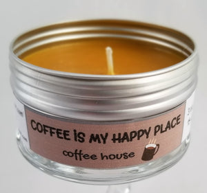 COFFEE IS MY HAPPY PLACE (Coffee House) Soulmate Scents Travel Candle FREE SHIPPING!